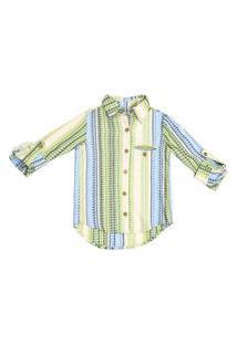 Camisa M/L I Am Listrada Verde