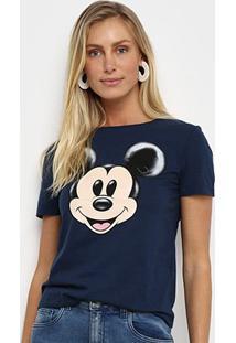Camiseta Cativa Disney Mickey Feminina - Feminino-Marinho