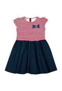 Vestido Infantil - Manga Curta - Listra Com Lacinho - Algodão E Elastano - Vermelho - Duduka