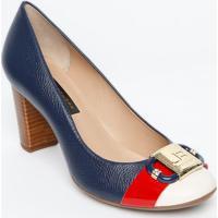 ae799f8463 Privalia. Sapato Tradicional Em Couro Com Aplicação- Azul Marinho Jorge  Bischoff