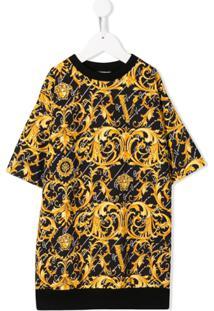 Young Versace Vestido Com Estampa Barroca - Preto