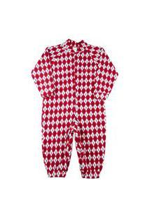 Macacão Pijama Infantil Ano Zero Microsoft Estampado 1-3 - Vermelho