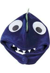 Touca Bebê Plush Dinossauro Masculina - Masculino-Azul Escuro