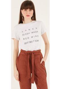 Camiseta Mescla Com Inscriã§Ãµes - Cinza Claro & Pretapop Up