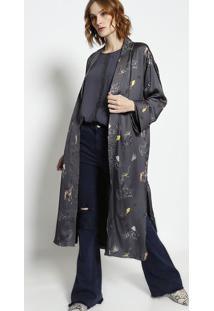 Kimono Com Amarraã§Ã£O - Cinza & Amarelo - Mobmob