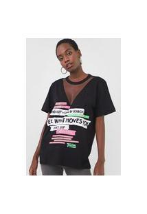 Camiseta Triton Tule Lettering Neon Preta