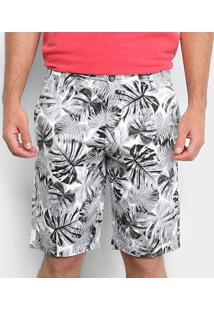 Bermuda Malwee Comfort Masculina - Masculino-Branco+Preto