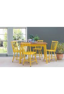 Sala De Jantar Com Mesa E 4 Cadeiras Mimo 110Cm Verniz Jatobá E Laca Amarelo