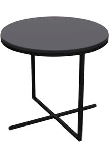 Mesa Lateral Zeta Media Tampo E Base Cor Preto Fosco 50 Cm (Larg) - 50673 - Sun House