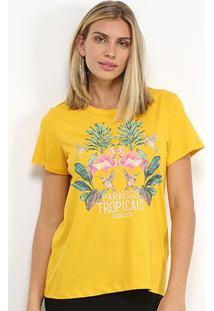Camiseta Colcci Paraisos Tropicais Feminina - Feminino-Amarelo Escuro