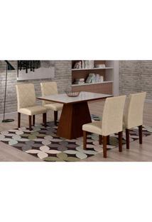 Conjunto De Mesa De Jantar Luna Com Vidro E 4 Cadeiras Ane Ii Linho Castor E Branco