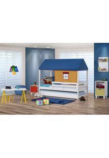 Bicama Infantil Prime Com Grade De Proteção E Telhado Azul/Amarelo - Casatema