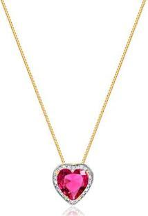 Colar Pequeno Com Pedra Natural Rosa Formato De Coração Detalhes Ródio Folheado Francisca Joias - Feminino-Dourado