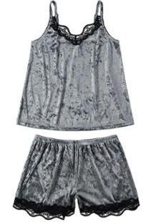 Pijama Curto Em Veludo Molhado Malwee Liberta Feminino - Feminino