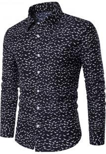 Camisa Masculina Casual Slim Estampada Manga Longa - Preto P