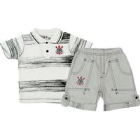 Conjunto Polo Shorts Meia Malha Oxford Menino Corinthians Reve Dor - 6 Anos  - Masculino 3a376b99b3956