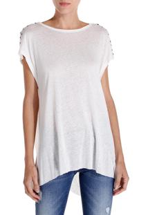 Camiseta John John Back Knot Malha Off White Feminina (Off White, Gg)