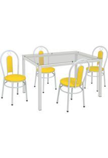 Conjunto De Mesa Com 4 Cadeiras Kiara Corino Branco E Amarelo