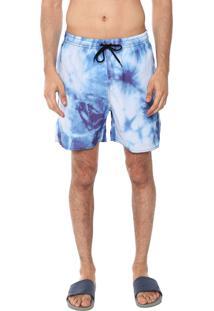 Bermuda Água Ride Skateboard Quadrada Tie Dye Azul