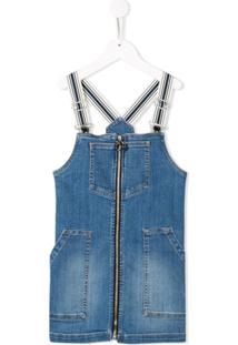 Pinko Kids Vestido Jeans Com Zíper Frontal - Azul