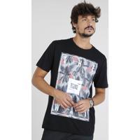d30039842f CEA. Camiseta Masculina Com Estampa De Flamingos Manga Curta Gola Careca  Preta