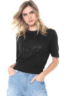 Camiseta Morena Rosa Estampada Preta