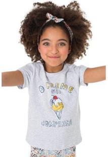 Camiseta Infantil O Creme Não Compensa Reserva Mini Feminina - Feminino-Cinza Claro