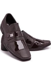 Sapato Social Verniz 734 Bico Quadrado Schiareli Masculino - Masculino-Marrom