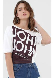 Camiseta Cropped John John Wine Off-White - Kanui