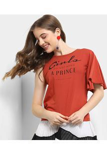 Camiseta Infantil Colcci Assimétrica Estampada Feminina - Feminino