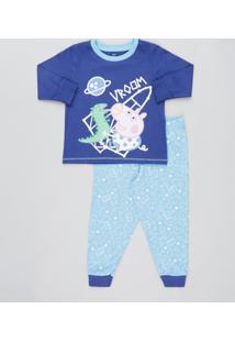 Pijama Infantil Peppa Pig Manga Longa Azul Claro