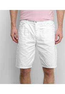 Bermuda Jeans Lacoste Masculina - Masculino-Branco