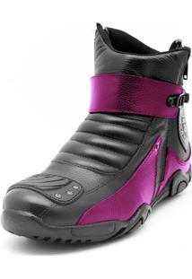 Bota Motociclista Atron Shoes Zíper Preto/Rosa