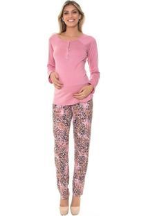 Pijama Recco Longo De Viscose E Visco Print - Feminino