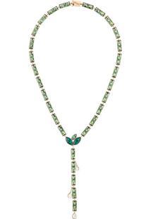 Atelier Swarovski X Susan Rockefeller Kette Bamboo Necklace - Verde