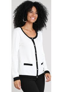 Cardigan Feminino Em Tricô Bicolor Off White