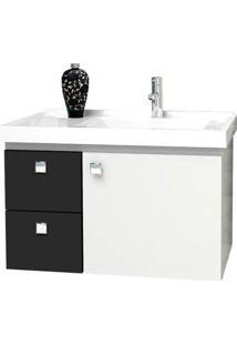Gabinete Para Banheiro 60Cm Mdf Moara Preto 59,6X38,3X35,4Cm - Cozimax - Cozimax