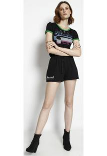 """Camiseta """"Atlanta""""- Preta & Verde- Coca-Colacoca-Cola"""