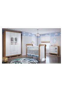 Dormitório Selena Guarda Roupa 4 Portas/Cômoda/Berço Mini Cama Mirelle Amadeirado Carolina Baby Marrom/Branco