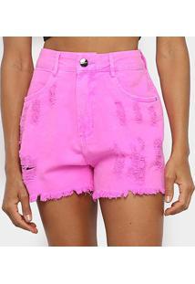 Shorts Jeans Lança Perfume Super High Feminino - Feminino-Rosa