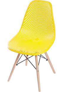 Cadeira Colmeia Com Base Em Madeira Amandiya - Amarelo