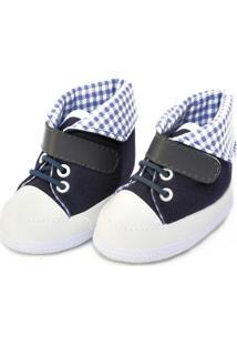 Tênis Cano Alto Xadrez Sapatinhos Baby Azul-Marinho E Branca