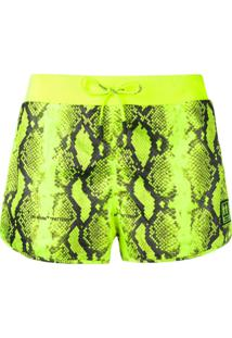 Off-White Short Com Estampa De Python - Amarelo
