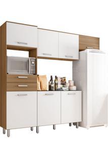 Cozinha Compacta 4 Peças Lia – Poliman - Carvalho / Branco