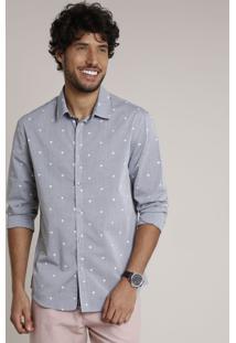 Camisa Masculina Slim Estampada De Coqueiros Manga Longa Cinza Mescla