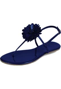 Rasteira Mercedita Shoes Flor Verniz Marinho - Azul Marinho - Feminino - Dafiti