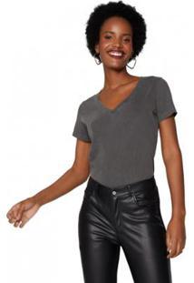 Camiseta Amaro Decote V Estonada Feminina - Feminino