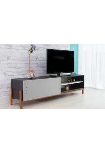 Rack Para Tv Preto Moderno Vintage Retrô Com Porta De Correr Cinza Eric - 186X43,6X48,5 Cm