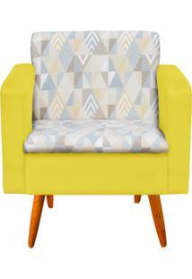 Poltrona Decorativa Emília Linho A17 Com Suede Amarelo - D'Rossi