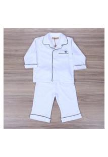 Pijama Classic Algodão Pima Para Bebê Com Vivo Azul Meu Ateliê Baby
